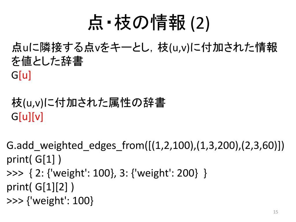 点・枝の情報 (2) 点uに隣接する点vをキーとし,枝(u,v)に付加された情報を値とした辞書 G[u] 枝(u,v)に付加された属性の辞書